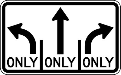 Left And Right Turn Only Sign